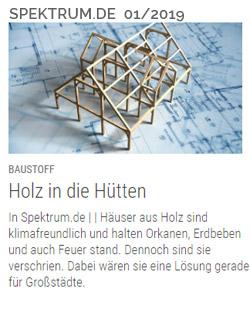 Artikel: Holzgebäude Spektrum.de 01/2019